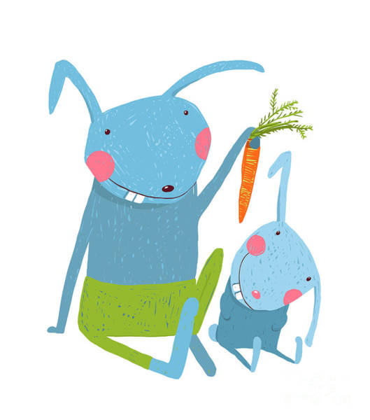 Amusing Wall Art - Digital Art - Hare And Leveret Eating Carrot . Animal by Popmarleo