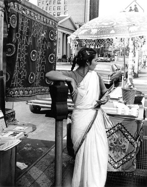 Greenwich Village Photograph - Hare Krishna Display by The New York Historical Society