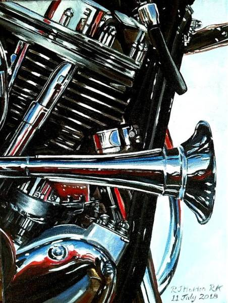 Wall Art - Painting - Harley Chrome Exercise by Richard John Holden RA
