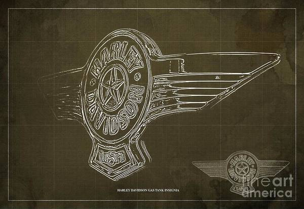 Gas Digital Art - harley davidson gas tank insignia Blueprint Brown background by Drawspots Illustrations