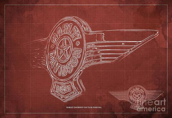 Gas Digital Art - harley davidson gas tank insignia Blueprint Red background by Drawspots Illustrations