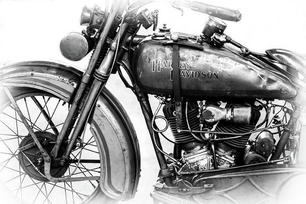 Wall Art - Photograph - Harley Davidson Motorcycle Bw IIi by Athena Mckinzie