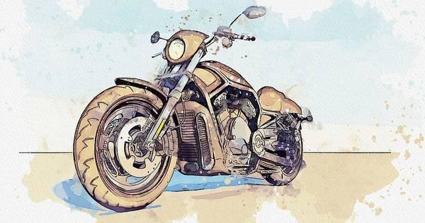 Wall Art - Painting - Harley Davidson Motorcycle -  Watercolor By Ahmet Asar by Ahmet Asar