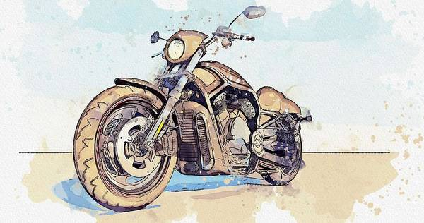 Wall Art - Painting - Harley Davidson Motorcycle  Watercolor By Ahmet Asar by Celestial Images