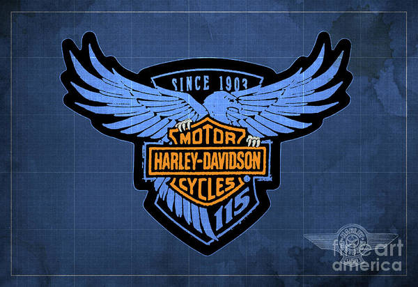 Wall Art - Digital Art - Harley Davidson Old Vintage Logo Fuel Tank Motorcycle Blue Background by Drawspots Illustrations