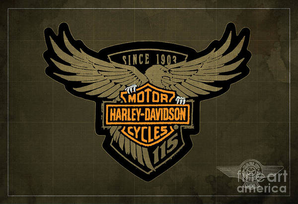 Wall Art - Digital Art - Harley Davidson Old Vintage Logo Fuel Tank Motorcycle Brown Background by Drawspotntage Logo Fuel Tank Motorcycles Illustrations