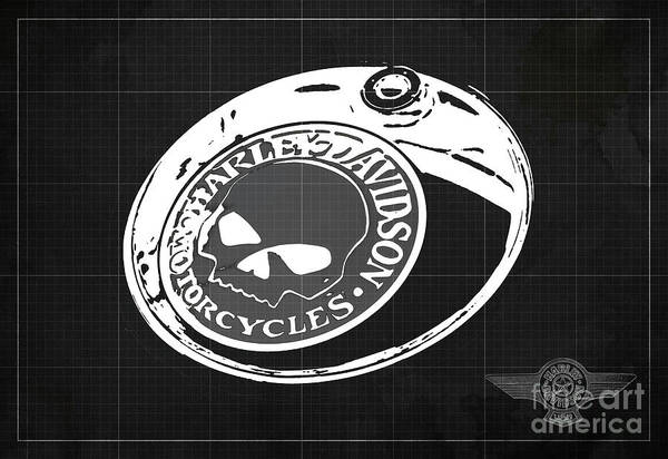 Wall Art - Digital Art - Harley Davidson Old Vintage Logo Fuel Tank Motorcycle Dark Grey Background by Drawspots Illustrations