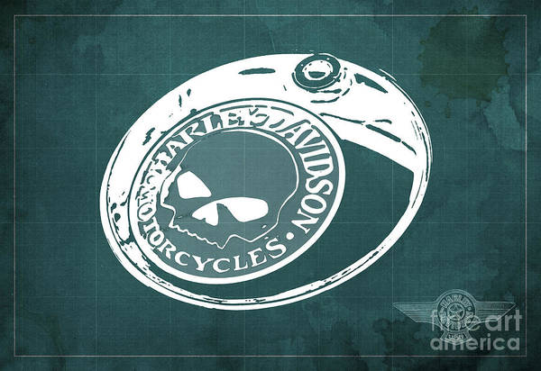 Wall Art - Digital Art - Harley Davidson Old Vintage Logo Fuel Tank Motorcycle Green Background by Drawspots Illustrations