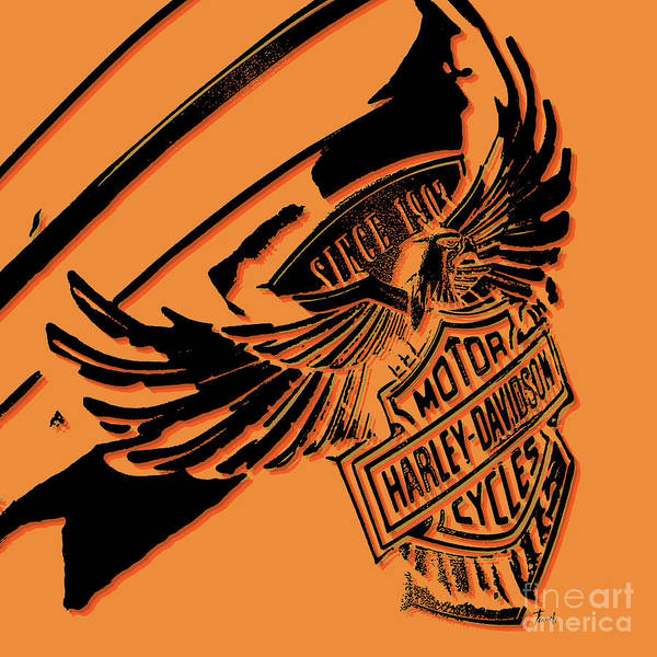 Wall Art - Digital Art - Harley Davidson Tank Logo Artwork by Drawspots Illustrations