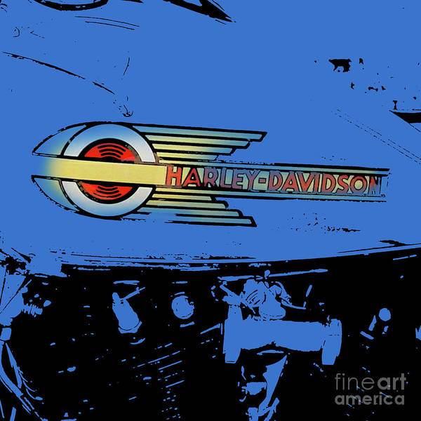 Wall Art - Digital Art - Harley Davidson Tank Logo Blue Artwork by Drawspots Illustrations