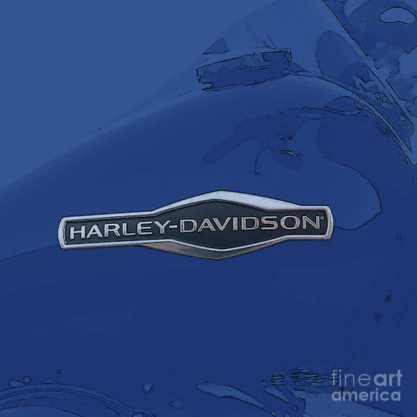 Wall Art - Digital Art - Harley Davidson Tank Logo Grey Artwork by Drawspots Illustrations