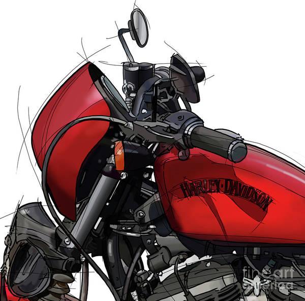 Wall Art - Digital Art - Harley Tank. Original Handmade Drawing Detail. Gift For Christmas by Drawspots Illustrations
