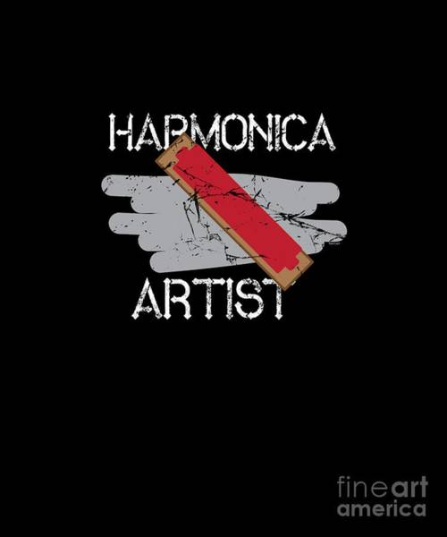 Harp Digital Art - Harmonica French Harp Mouth Organ Musicians Wind Instrument Musical Gift by Thomas Larch