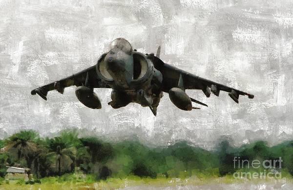 Wall Art - Painting - Harrier Jump Jet by Mary Bassett