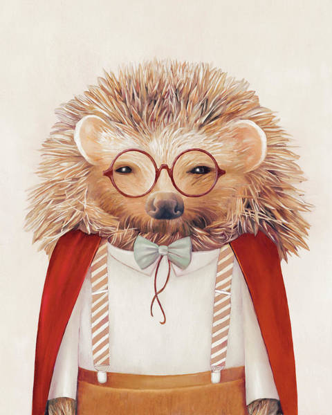 Animals In Clothes Wall Art - Painting - Harry Hedgehog by Animal Crew