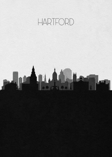 Wall Art - Digital Art - Hartford Cityscape Art by Inspirowl Design