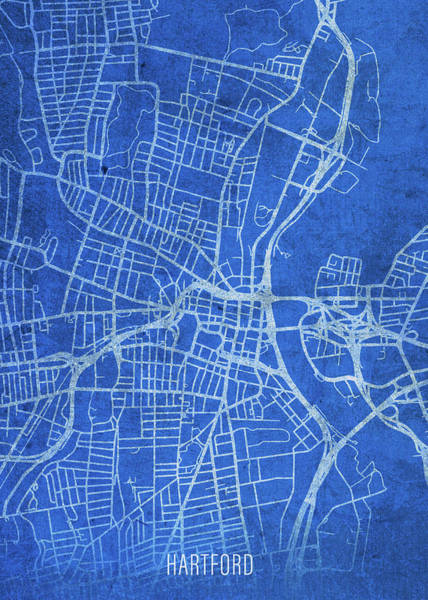 Wall Art - Mixed Media - Hartford Connecticut City Street Map Blueprints by Design Turnpike