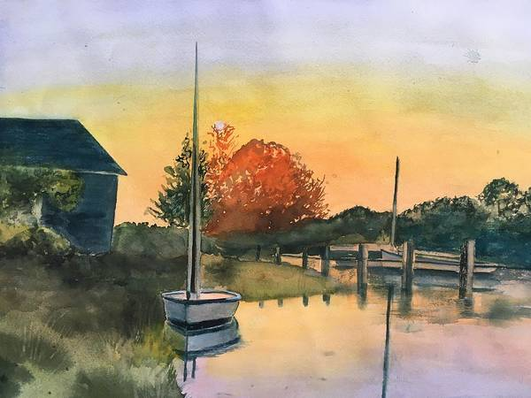 Painting - Harthaven Harbor, Mv by Lynne Atwood