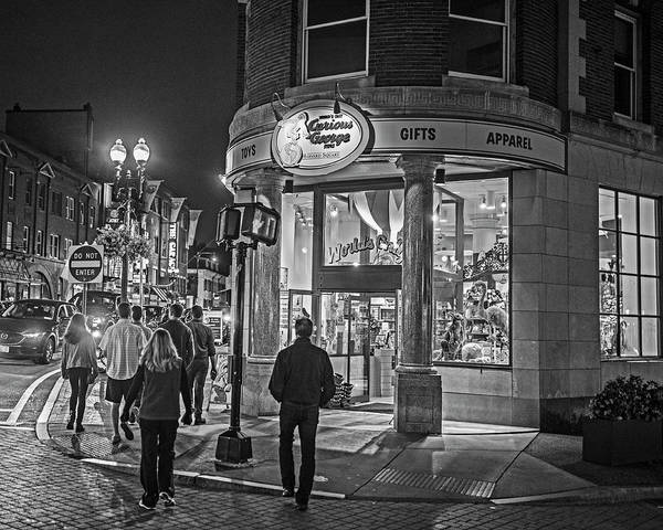 Photograph - Harvard Square Nightlife Black And White Cambridge Ma by Toby McGuire