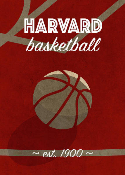 Wall Art - Mixed Media - Harvard University Retro College Basketball Team Poster by Design Turnpike
