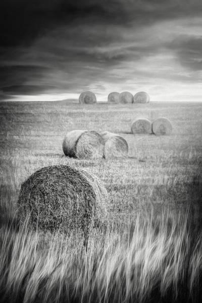 Bales Photograph - Harvest Hay Bales Scotland Black And White by Carol Japp