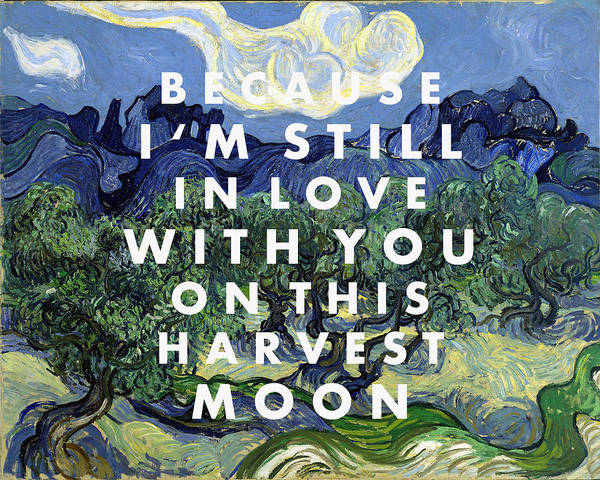 Digital Art - Harvest Moon Lyrics Print by Georgia Fowler