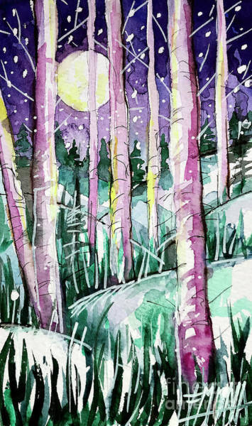Wall Art - Painting - Harvest Moon - Winterscape Watercolor - Mona Edulesco by Mona Edulesco