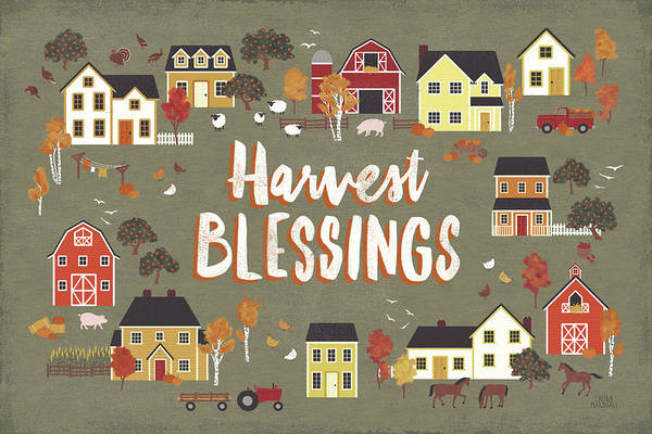 Wall Art - Painting - Harvest Village I by Laura Marshall
