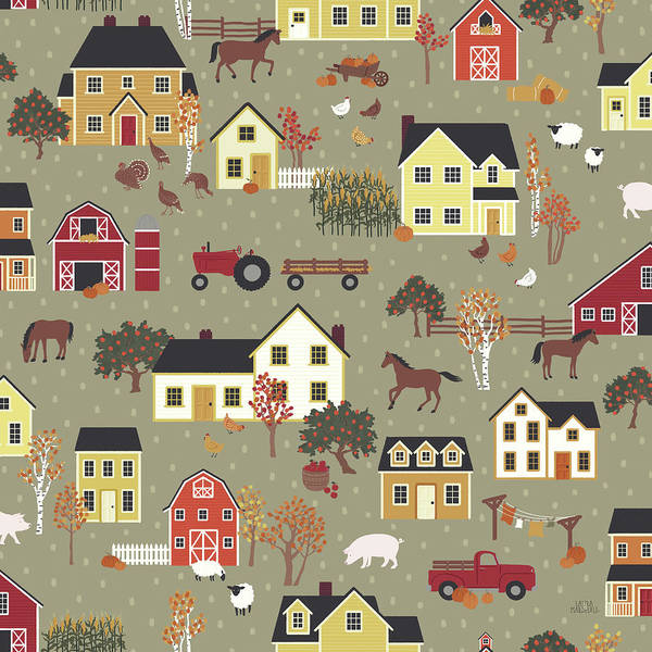Wall Art - Painting - Harvest Village Pattern I by Laura Marshall