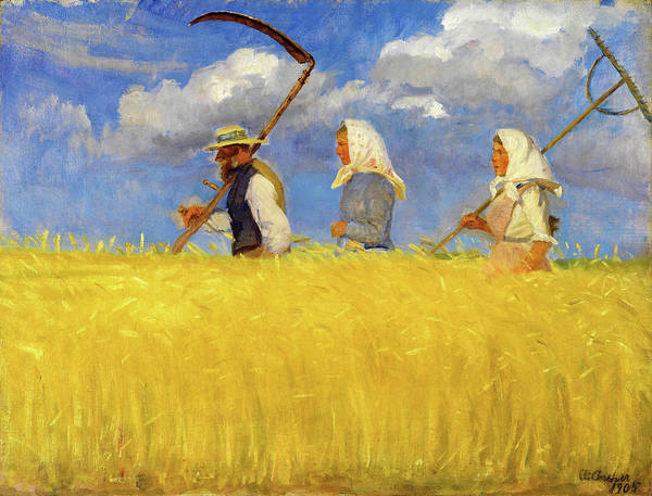 Wall Art - Painting - Harvesters - Digital Remastered Edition by Anna Ancher
