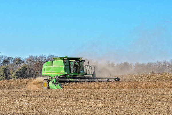 Photograph - Harvesting Soybeans by Jim Thompson