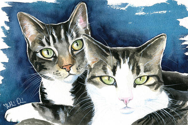 Painting - Harvey And Heidi Tabby Cat Painting by Dora Hathazi Mendes