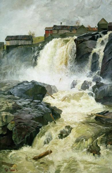 Wall Art - Painting - Haug Falls, Modum by Fritz Thaulow