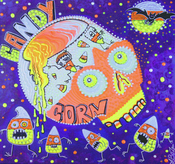 Wall Art - Painting - Haunted Candy Corn by Laura Barbosa
