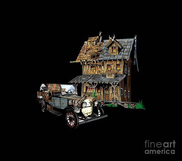 Haunted House Drawing - Haunted House America by Nagesh Kharbanda