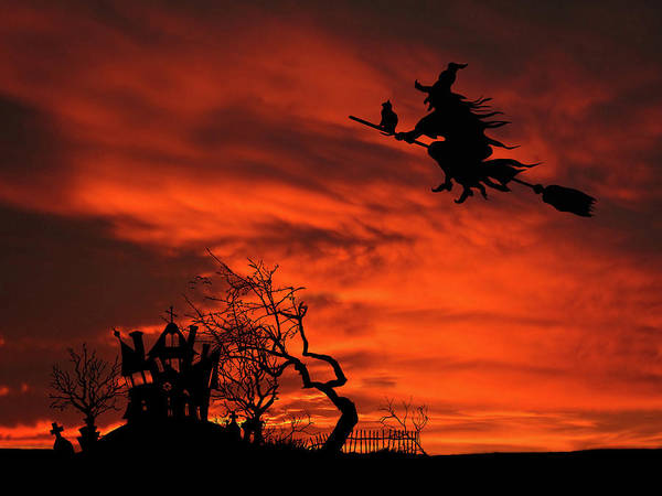Wall Art - Mixed Media - Haunted House Sunset Silhouette by David Dehner