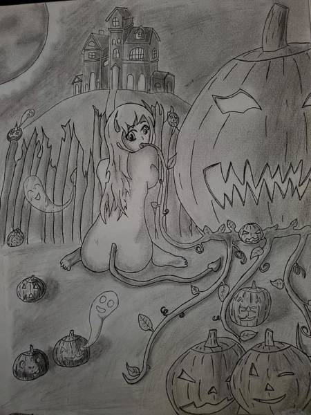 Haunted House Drawing - Haunted Pumpkin Patch  by Shadow Charmander