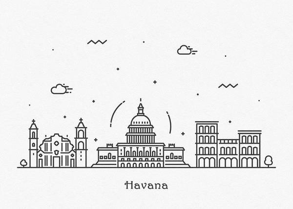 Landmark Center Drawing - Havana Cityscape Travel Poster by Inspirowl Design