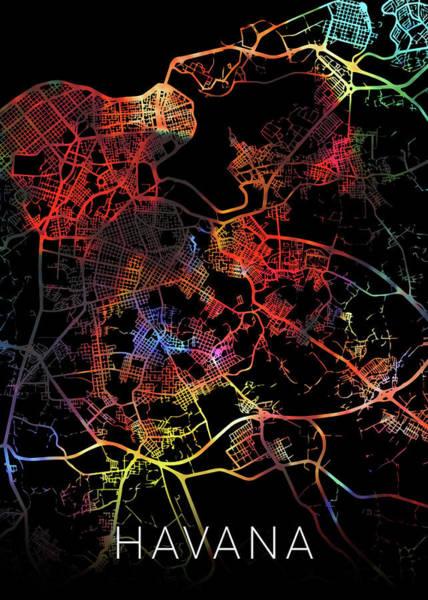Wall Art - Mixed Media - Havana Cuba Watercolor City Street Map Dark Mode by Design Turnpike