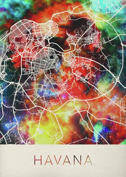 Wall Art - Mixed Media - Havana Cuba Watercolor City Street Map by Design Turnpike