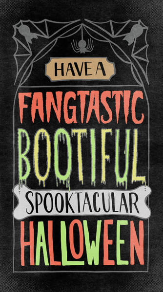 Painting - Have A Fangtastic Bootiful Spooktacular Halloween Headstone Art by Jen Montgomery