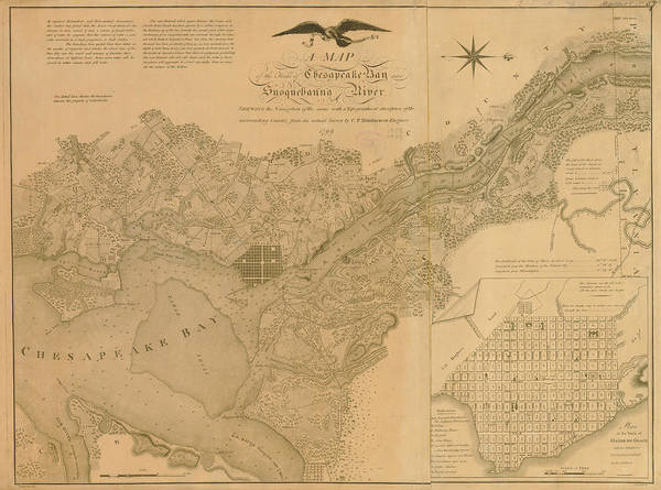 Wall Art - Digital Art - Havre De Grace, Susquehanna River And by Historic Map Works Llc