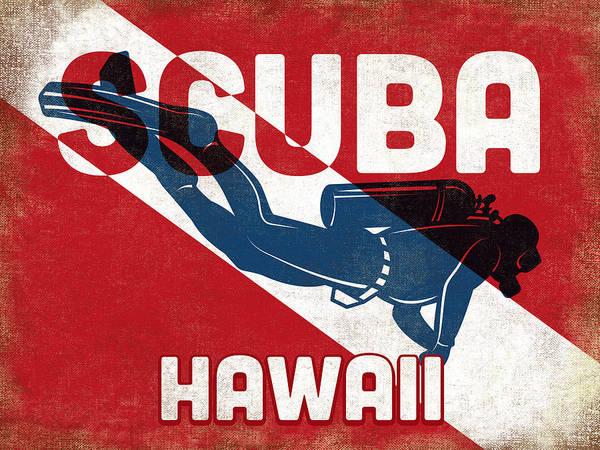 Scuba Digital Art - Hawaii Scuba Diver - Blue Retro by Flo Karp