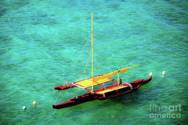 Photograph - Hawaiian Dual Outrigger Sailing Canoe by D Davila