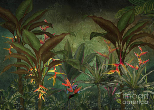 Wall Art - Digital Art - Hawaiian Heliconia Forest by J Marielle