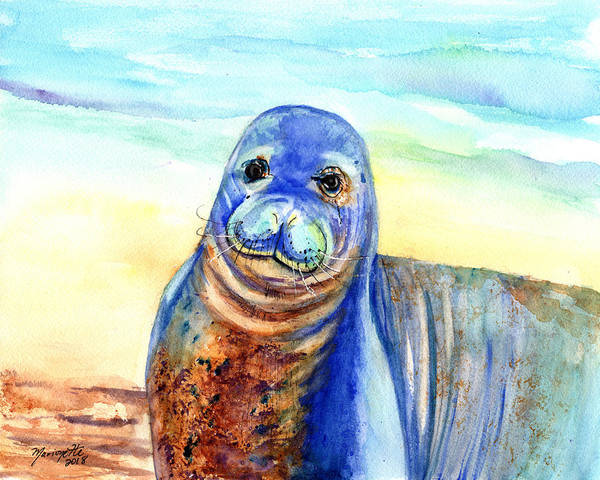 Painting - Hawaiian Monk Seal by Marionette Taboniar