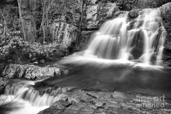 Photograph - Hawk Falls Cascades Black And White by Adam Jewell