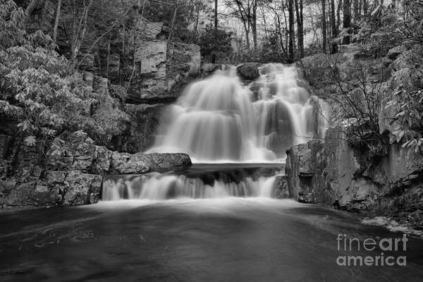 Photograph - Hawk Falls Lush Landscape Black And White by Adam Jewell