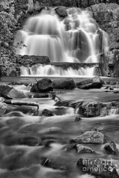 Photograph - Hawk Falls Poconos Portrait Black And White by Adam Jewell