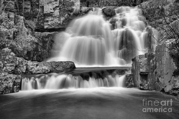 Photograph - Hawk Falls Winter View Black And White by Adam Jewell
